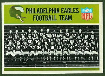 Philadelphia Eagles Team 1965 Philadelphia football card