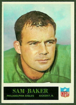 Sam Baker 1965 Philadelphia football card