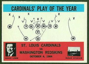 Cardinals Play of the Year 1965 Philadelphia football card