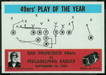 49ers Play of the Year 1965 Philadelphia football card