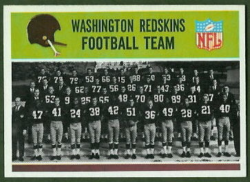 Washington Redskins Team 1965 Philadelphia football card