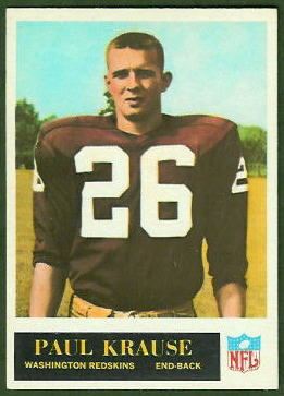 Paul Krause 1965 Philadelphia football card
