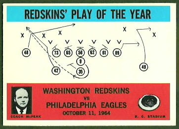 Redskins Play of the Year 1965 Philadelphia football card