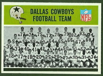 Dallas Cowboys Team 1965 Philadelphia football card