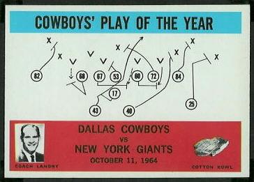 Cowboys Play of the Year 1965 Philadelphia football card