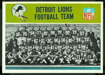 Detroit Lions Team 1965 Philadelphia football card