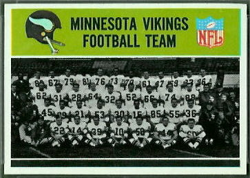 Minnesota Vikings Team 1965 Philadelphia football card