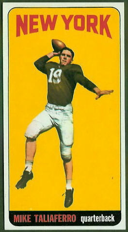Mike Taliaferro 1965 Topps football card