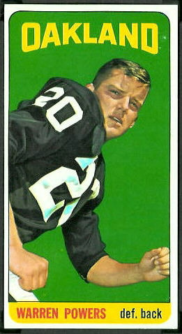 Warren Powers 1965 Topps football card