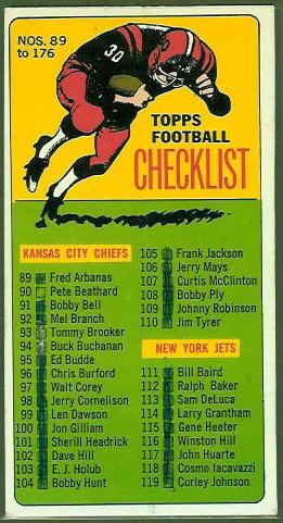 Checklist 89-176 1965 Topps football card