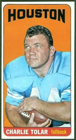Charley Tolar 1965 Topps football card