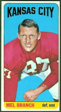 Mel Branch 1965 Topps football card