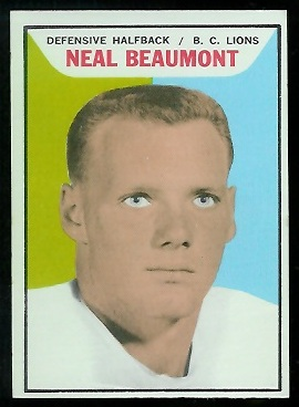 Neal Beaumont 1965 Topps CFL football card
