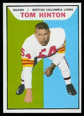 Tom Hinton 1965 Topps CFL football card