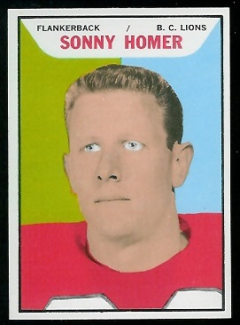 Sonny Homer 1965 Topps CFL football card