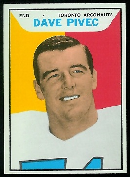 Dave Pivec 1965 Topps CFL football card