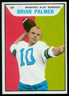 Brian Palmer 1965 Topps CFL football card