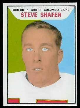 Steve Shafer 1965 Topps CFL football card
