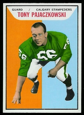 Tony Pajaczkowski 1965 Topps CFL football card