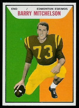 Barry Mitchelson 1965 Topps CFL football card