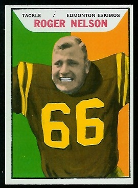 Roger Nelson 1965 Topps CFL football card