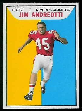 Jim Andreotti 1965 Topps CFL football card