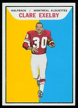 Clare Exelby 1965 Topps CFL football card