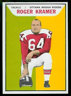Roger Kramer 1965 Topps CFL football card