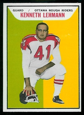 Ken Lehmann 1965 Topps CFL football card