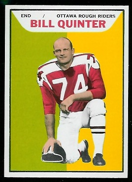 Bill Quinter 1965 Topps CFL football card