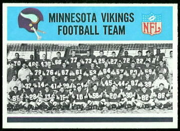 Minnesota Vikings Team 1966 Philadelphia football card