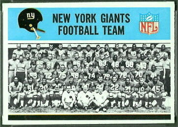 New York Giants Team 1966 Philadelphia football card