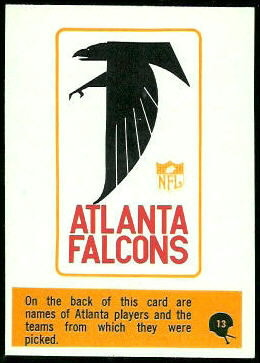 Falcons Roster 1966 Philadelphia football card