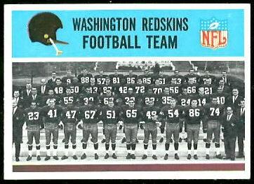 Washington Redskins Team 1966 Philadelphia football card