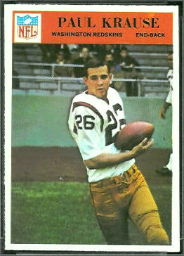 Paul Krause 1966 Philadelphia football card