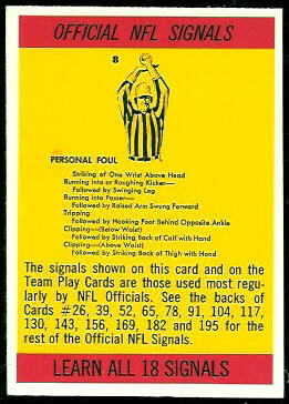 Referee Signals 1966 Philadelphia football card