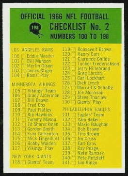 Checklist 2 1966 Philadelphia football card