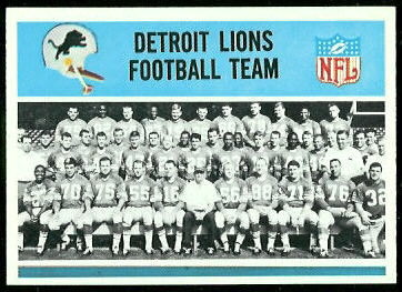 Detroit Lions Team 1966 Philadelphia football card