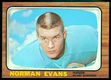 Norm Evans 1966 Topps football card