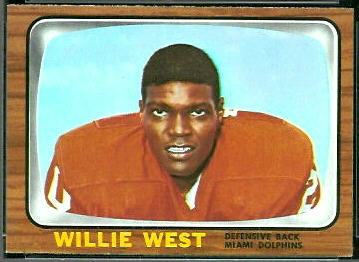 Willie West 1966 Topps football card
