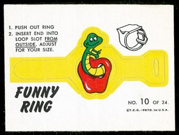 Wormy Apple 1966 Topps Funny Rings football card