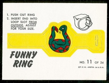 The Snake 1966 Topps Funny Rings football card