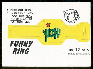 Yicch 1966 Topps Funny Rings football card