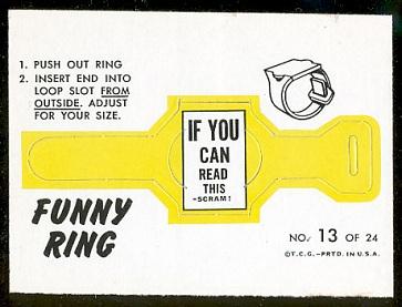 Scram! 1966 Topps Funny Rings football card