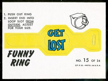 Get Lost 1966 Topps Funny Rings football card