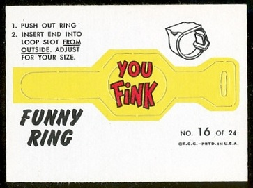 You Fink 1966 Topps Funny Rings football card