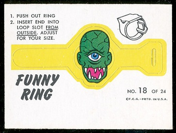 One-Eyed Terror 1966 Topps Funny Rings football card