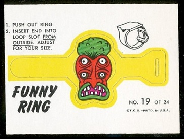 Mr. Ugly 1966 Topps Funny Rings football card