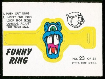 Mr. Glug 1966 Topps Funny Rings football card