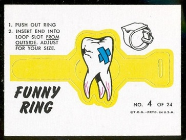Tooth-Ache 1966 Topps Funny Rings football card